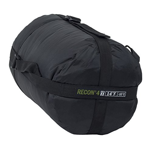 Elite Survival Systems ELSRECON4-B Recon 4 Rated to 14 Degree Fahrenheit Sleeping Bag, Black