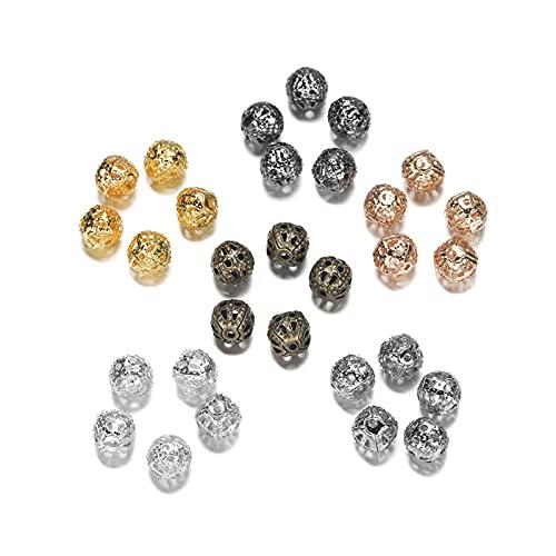 BOSAIYA PJ 50-200 unids/Lote 4-10mm Metal de Oro Metal Redondo Separador Spacer Beads Filigree Hollow Bead para Bricolaje Pulsera Collar Joyería Mensajes TL807 (Color : 6, Size : 8mm x 100pcs)