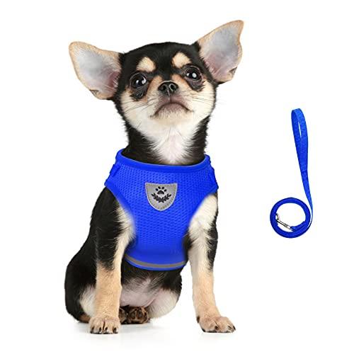 FEimaX Imbracatura e Guinzagli Set per Cani, Pettorina Imbottita a Morbida per Cuccioli e Gatti, Imbracature di Traspiranti Regolabili Riflettenti per Camminare, Corsa, Allenamento