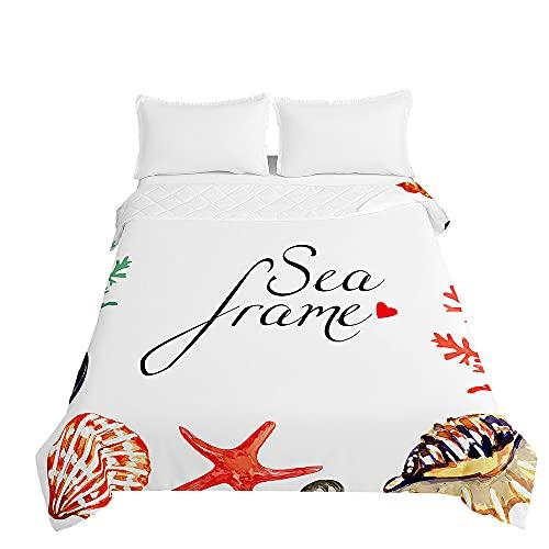 Colcha de Verano Cubrecama Colcha Bouti, Chickwin 3D Estrella de mar Edredón Manta de Dormitorio Suave Ligero Multiuso Colchas para Cama Infantil Individual Matrimonio (Concha,230x280cm)