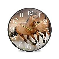 9.5インチの丸い壁の時計カチカチ音をたてないサイレントバッテリー式オフィスキッチンベッドルーム家の装飾-ランニングホースカップル