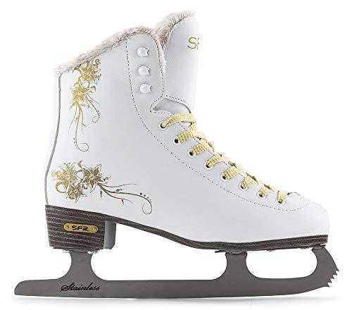 SFR Skates Glitra Pattini su ghiaccio, Unisex bambini, Glitra, bianco (white), 35.5 EU