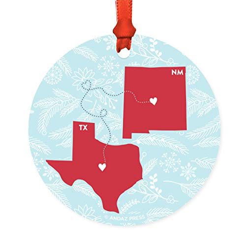 Andaz Press Round Natural Wood MDF Keepsake Christmas Ornament Long Distance Gift, Texas and New Mexico, Winter Blue and Red, 1-Pack, Metal Moving Away Graduation University College Gifts for Him Her