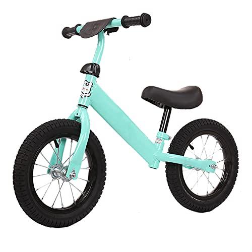 CKCL Bicicleta De Equilibrio Neumático De 12 Pulgadas Aluminio Ligero para Facilitar La Conducción a Los Niños De 2 3 4 5 Años Asiento Ajustable Y Altura del Manillar Entrenamiento De Equilibrio,Azul