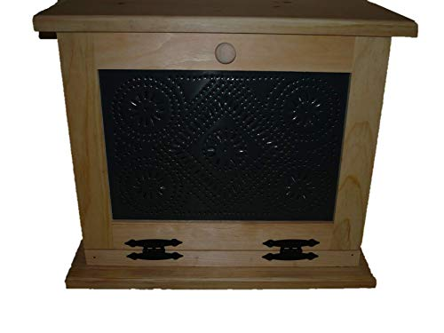 Wooden Bread Box with Punched Tin Decor on the Front. This Bread Box Comes Unfinished. This Wooden Bread Box Has a Shelf Inside and Is Very Spacious on the Inside. Measures: 18