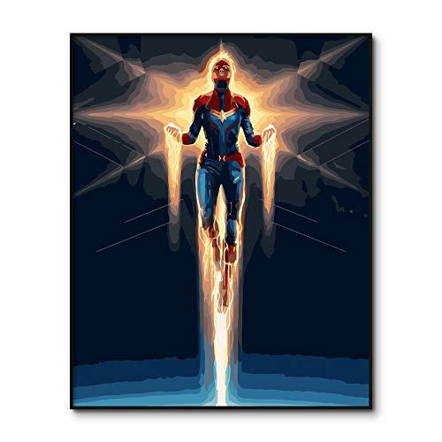 AGjDF Captain Marvel USA números para Dibujar DIY para héroes Adultos del Surf Avengers dibujando con un Kit de números40x50cm