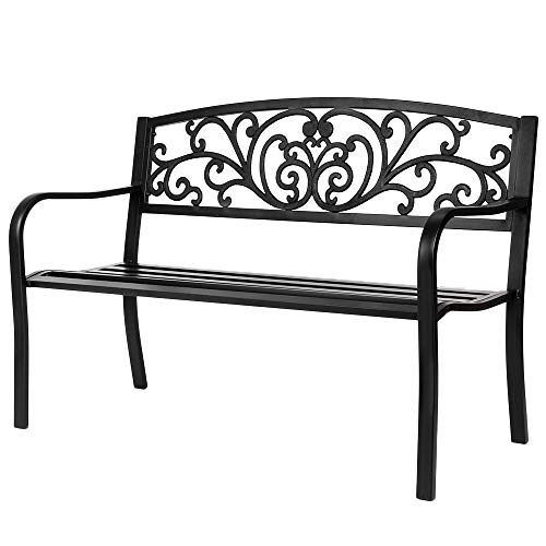 VINGLI 50' Patio Park Garden Bench Outdoor Metal Benches,Cast Iron Steel Frame Chair Front Porch Path Yard Lawn Decor Deck Furniture for 2-3 Person Seat