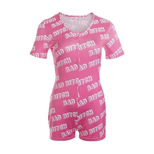 Damen Jumpsuit Sommer Sexy Langarm Bodysuit Kurz Bodycon Trikot Shorts Overall Lustig Unterwäsche Home Wear Pyjama (Pink Bad, XXL)