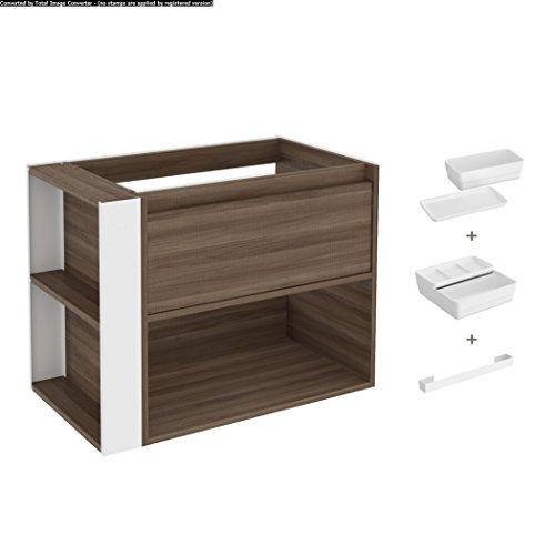 Bath+ by Cosmic Bsmart - Mueble 1 cajón y 1 estante para lavabo fresno blanco (80 cm)