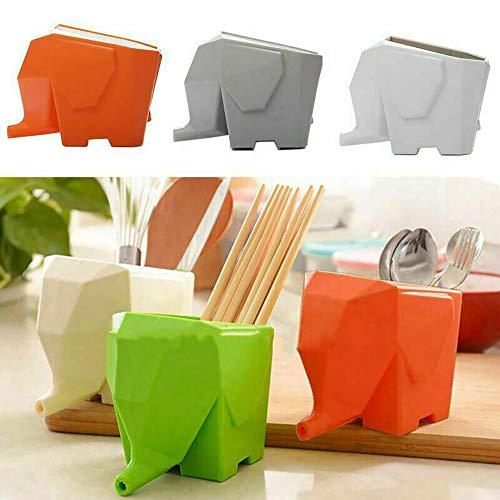 GSJDD Escurridor de Cubiertos, Soporte de Almacenamiento de Cuchara de Cepillo de Cocina de Elefante multifunción Escurridor de Cubiertos, se Puede Utilizar como Taza de Almacenamiento(Naranja)