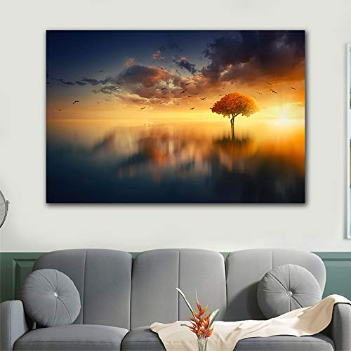 GJQFJBS HD Picture Print Landscape Wall Art Sunset Lone Tree Canvas Painting Beautiful Lake Scenery Living Room Mural A4 40x50cm