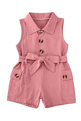 LVBU Jumpsuit für Kinder, Mädchen, Baumwolle, einfarbig, Umlegekragen, ärmellos Gr. 2-3 Jahre, beige