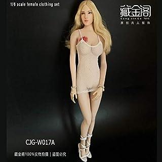 1/6女性兵士服CJG-W017 TBLプラスチックボディサスペンダースカートセクシーメッシュドレススポット (1:6白色性感吊?017A)