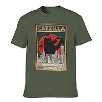 メンズ Tシャツ カジュアルMen's Crew Neck T-Shirt Vintage Black Cat Baked Fucupcakes Print Humour T-Shirt,Olive Green9,L