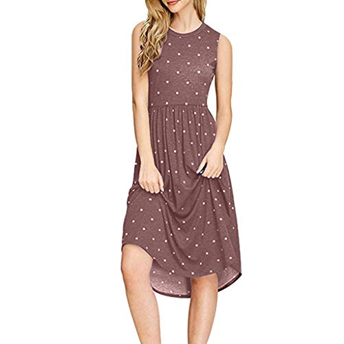 MAYOGO Kleider Sommer Damen Knielang Polka Dots Midi Kleider Sommerkleid Damen Tupfen Empire Tunikakleid Lässig Weste Kleid Ohne ärmel