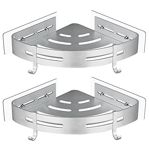 Gricol Estante de Ducha Sin Taladrar en Aluminio Aeronáutico con 2 Ganchos Estanteria Rinconera Cestas Antióxido Auto Adhesivas para Baño 2 Piezas