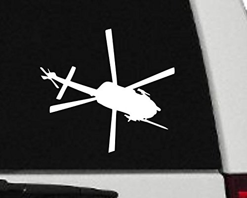 Maxx Graphixx Decal - Helicopter - Blackhawk Helicopter Silhouette Vinyl Decal - Military Car Decal - H4 (5' x 6', White)