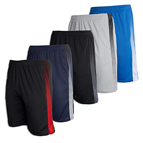 Men's Mesh Active Wear Athletic Basketball Essentials Performance Gym Soccer Running Summer Fitness Quick Dry Wicking Workout Clothes Sport Shorts - Set 10-5 Pack, XXL