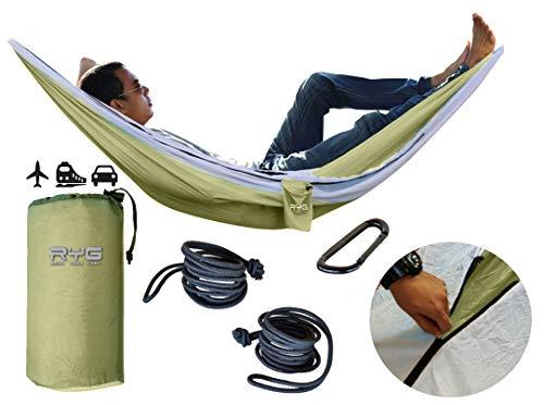 Raise Your Game RYG Portable Hammock, Heavy Duty Lightweight Parachute Quality Fabric, Indoor Outdoor Weatherproof Single & Double Hammocks,...