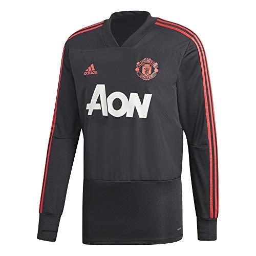 adidas Herren Manchester United FC Training Langarm Sweatshirt, Black/Blaze Red/Core Pink, XL
