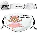 Braytow Fashion Face, divertente orso ballerina in un Tutu scarpe a punta con citazione scritta I Love Dancing, copertura riutilizzabile per bocca del naso per bambini ragazzi ragazze bianco