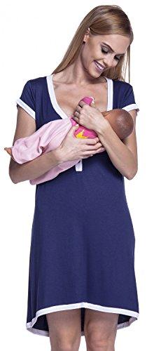 HAPPY MAMA. Damen Umstands-Nachthemd mit Stillfunktion. Stillshirt Kurzarm. 981p (Marine & Weiß, 42-44, 2XL)