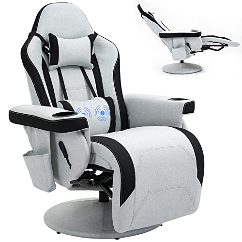 HOMHUM Office Chair Recliner Comfortable Massage Gaming Reclining Chair, Fabric Racing Swivel Chair w/Adjustable Backrest and Footrest, Comfortable Ergonomic High Back Computer Chair, Grey