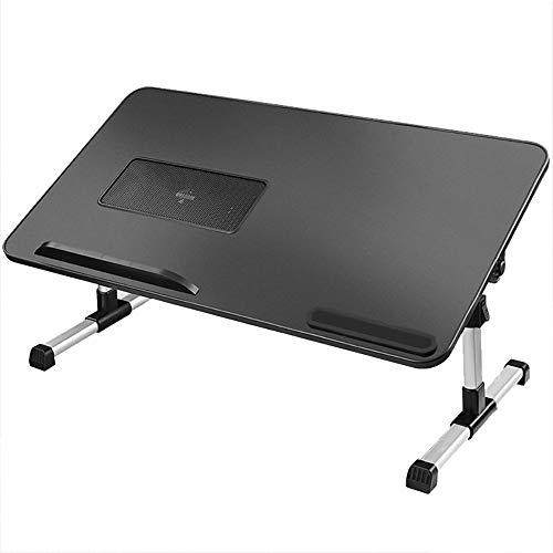 VBARV Soporte de Regazo Multifuncional, Escritorio Plegable Ajustable para computadora portátil, Altura Ajustable y ángulo de inclinación, con Ventilador de refrigeración de CPU USB, para el hogar