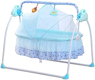 Nursery Baby Bed Foldable Baby Toddler Bed Sleeping Swing Cradle Built-in Music Remote Control with Safety Sear Belt and M...