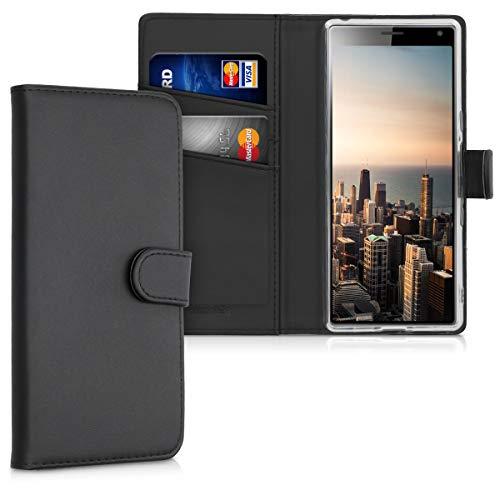 kwmobile Sony Xperia 10 Hülle - Kunstleder Wallet Case für Sony Xperia 10 mit Kartenfächern & Stand - Schwarz