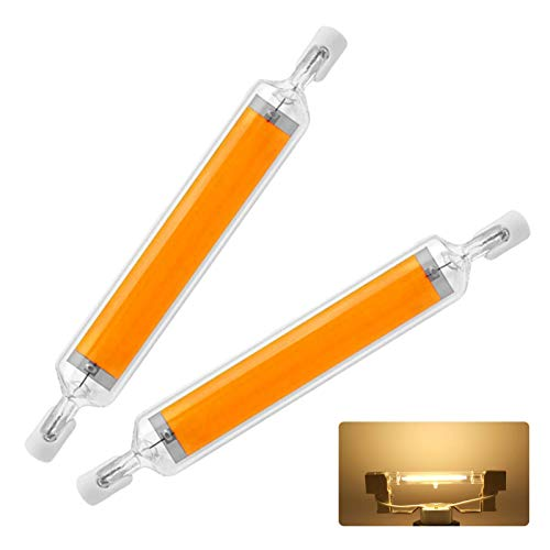R7S LED 78mm Dimmbar Birne, R7S LED Leuchtmittel, LED R7S 78mm Glühbirne 10W , Warmweiß 3000K, Entspricht 80W Halogenstab, LED Stablampe, COB Lampe, 800 LM, AC220-240V, 360 Grad Licht, 2er-Pack