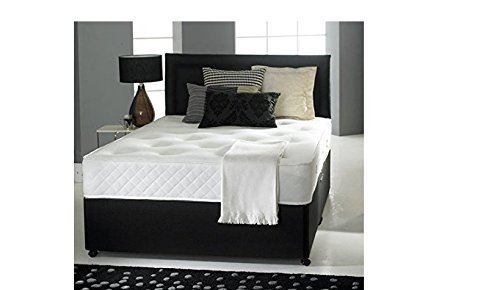 Black Leather Divan Bed with Ortho Mattress, Headboard and 2 drawers (4ft6 Double)