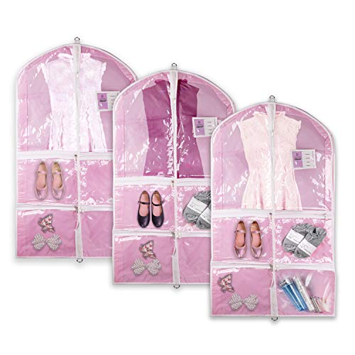"Hiverst Dance Garment Bag with Zipper Pockets Set, Dance Costume Recital Competition Bags Caddy, 38"" Hanging Pink Dress Cover Wardrobe Storage Bag Pack with Clear Window for Kids, Girl Dancer"