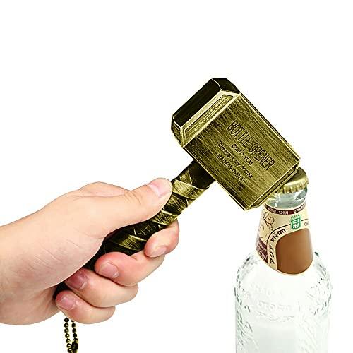 73HA73 Silberne Bierflaschenöffner Multifunktionshammerform Asgard-förmiger Bieröffner mit langstieliger Flasche Metallöffner Bier,Gold