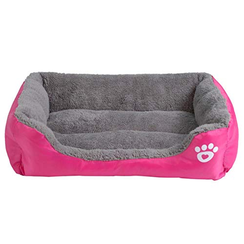 qingy S-3XL 9 color paw pet sofa dog bed waterproof bottom soft wool warm cat bed house, pet nest, pet home,Fushia,L