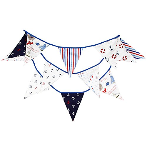 INFEI Blue Sailor Navy Style Fabric Triangle Flags Banner Buntings Garlands for Wedding, Birthday Party, Outdoor & Home Decoration (3.5M/11.5Ft)