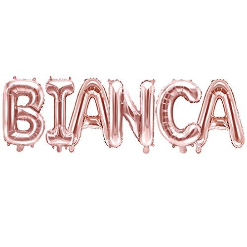 Palloncino FOIL MYLAR ROSA GOLD scritta nome BIANCA 35 cm
