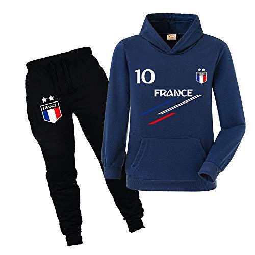 Xpialong Jogging Survêtement De Football France 2 étoiles Enfant Sweat à Capuche avec Poche (Style2,9-10 Ans)