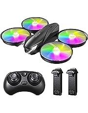Tomzon A31 Mini Drone para Niño, LED Colores RC Helicopter Modo sin Cabeza Altitud Hold, Control Remoto 3D Flips, Un Botón de Devolución, 3 Modos de Velocidad, Dron Juguete para Niños, 2 Baterías