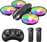 Tomzon A31 Mini Drone para Niño, LED Colores RC Helicopter Modo sin Cabeza Altitud Hold, Control Remoto 3D Flips, Un Botón de Devolución, 3 Modos de Velocidad, Juguete Dron para Niños, 2 Baterías