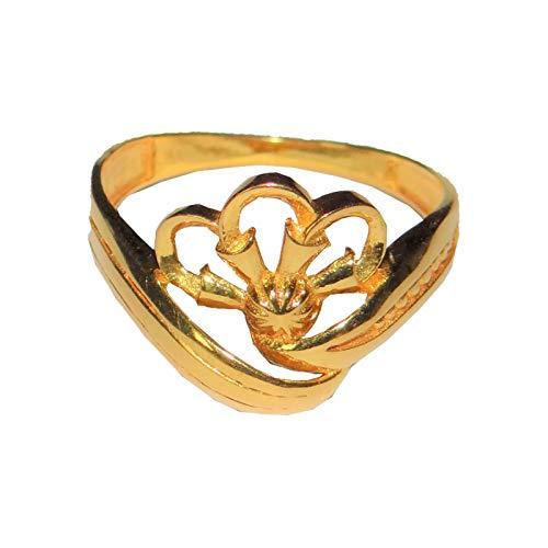 Satfale Jewellers Anillo de Mujer con diseño de Corona de Oro Fino Amarillo Certificado sólido de 20 Quilates