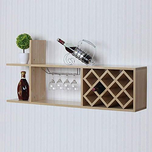 Estantería de vino Estante del vino de madera maciza de colgar de la pared estantes retro cáliz titular de vidrio de vino titular cocina del restaurante, bar, restaurante estante de vino pequeño