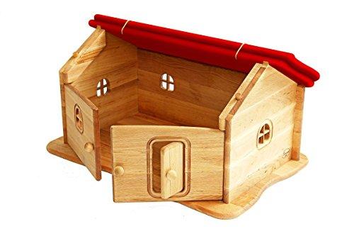 Erst-Holz Drewart großes Haus mit Dach rot, Bauernhaus,Spielhaus, Kleiner Kinderbauernhof, Sacherl 935-4026