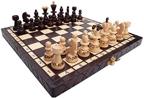 MWKLW Juego de ajedrez Internacional Staunton Chess Juego de ajedrez de Resina 42 * 42 * 5 Cm Juego Infantil con Caja de ajedrez Plegable Fiesta de Rompecabezas Informal