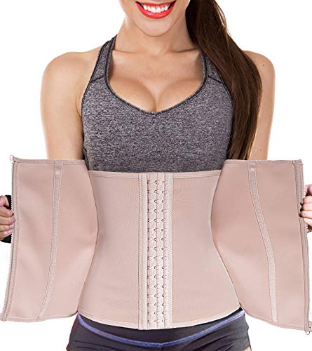 Ursexyly Women Waist Trainer Corset Zipper Hook Shapewear Double Control Body Shaper Tummy Fat Burning Waist Cincher (XL, Waist 34.6-37 Inch, Beige Corset)