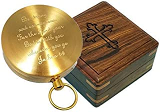 Stanley London Brass Pocket Compass Engraved Joshua 1:9 - Great for Baptisms, Confirmations, Missionary, Birthdays, Graduations