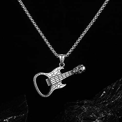 Collar Colgante Abridor de botellas de guitarra con calavera retro personalizado collar de acero de titanio para hombres joyería roja neta Collar amistad Aniversario San Valentín Regalo