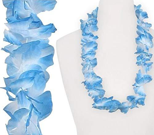 COOLMP – Lote de 3 collares de flores azul y blanco 60 mm