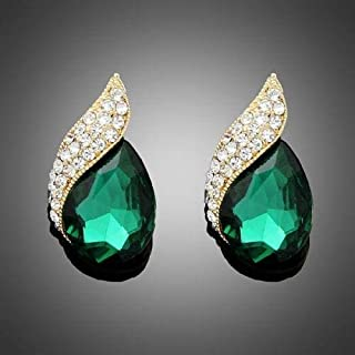 Green crystal vintage flame design women lady club Stud pierced party earring