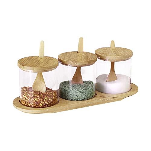 Portaspezie in vetro con cucchiaio in bambù e coperchio, set di barattoli per spezie con coperchio in bambù, contenitore per spezie, sale, zucchero